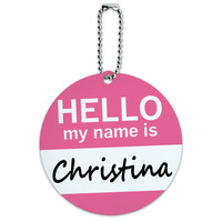 Christina Hello My Name Is Round ID Card Luggage Tag