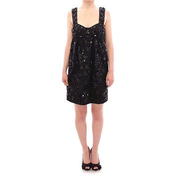 Dolce & Gabbana Black floral crystal embedded dress