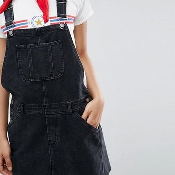 ASOS TALL Denim Overall Dress in Washed Black at asos.com