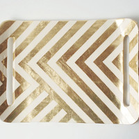 $98.00 Gold Zag Tray by upintheairsomewhere on Etsy