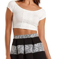 Lace-Trim Short Sleeve Crop Top by Charlotte Russe