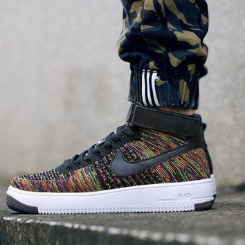 PEAPNW6 Originals Nike Air Force One 1 Flyknit Mid White / Black Running Sport Casual Shoes '07 817420-009 Sneakers