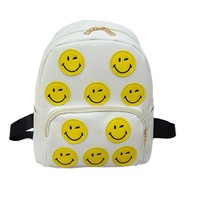 Girls backpack pu leather women backpack school Smile Emoji Backpack Emoticon Pack School Shoulder Bag female backpack