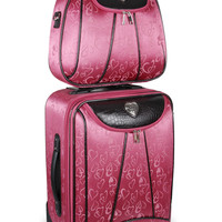 Pink Heart Rolling Luggage & Cosmetic Case Set