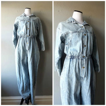 Acid Wash Denim Jumpsuit Vintage 80s Blue Jean Pants One Piece Romper Size L Large Retro Eighties Hipster Boho 1980s Womens Baggy Oversized