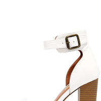 Believe It White Ankle Strap Heels