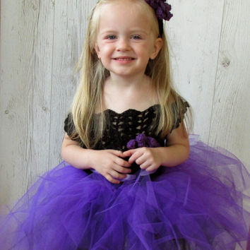 Halloween girls black and purple crochet  tutu dress and headband , flower girl dress , halloween costume dress up.birthday party