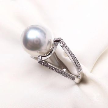 12-13mm White South Sea Pearl Ring, 18k White Gold w/ Diamond - AAAA