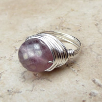 Lilac Glass Ring: Fine Silver Wire Wrapped Matte Purple Large Bauble Statement Cocktail Jewelry, Size 7