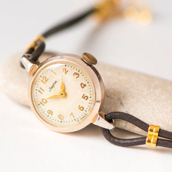 Party watch for lady's, gold shade women's watch Dawn, rare lady watch round, minimalist woman watch classical, adjustable leather strap new