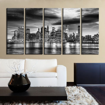 Large Wall Art NEW YORK Canvas Prints - Black and White New York City over Sea Taken
