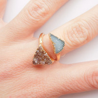 Druzy Geode Ring - Aqua and Chocolate Brown - OOAK Jewelry
