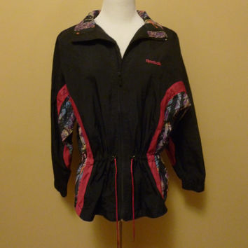 vintage 90s reebok sport cinch waist abstract print nylon windbreaker navy and pink hooded warm up jacket medium/large