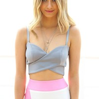Grey Sleeveless Cross-Over Crop Top with Sweetheart Neck