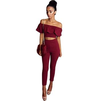 2017 New Summer Fashion Women Sexy Ruffles Off Shoulder 2 Piece Set Jumpsuit Bodycon Bodysuit Rompers Playsuit Overalls YF448