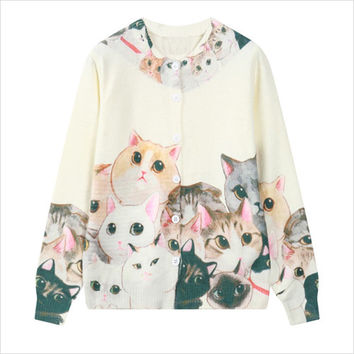 White Cat Print Cardigan