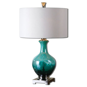 Uttermost Yvonne Green Blue Glass Table Lamp - 26770-1