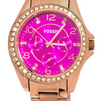 Fossil ES3531 Riley Pink Day Date Glitz Dial Rose Gold Steel Women Watch NEW