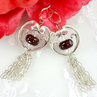 Red polka dot heart lampwork earrings, Lampwork earrings, Dangle earrings, Chain Tassel earrings