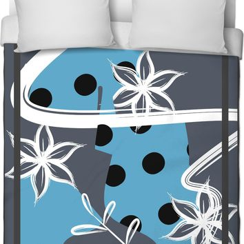 ROB Gray and Blue Flowers and Dots Duvet Cover