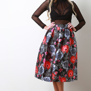 Floral Sketch Box Pleated Skirt