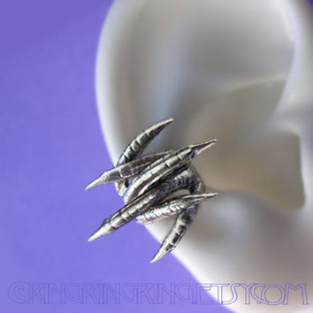 Double talon - Dragon claw ear cuff earring jewelry - 925 solid sterling silver ear cuff for men and women