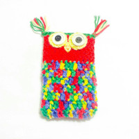 Owl Phone Sleeve, Crochet Cell Cozy, Cute Mobile Cover, Smartphone holder, Mobile Pouch, Animal Phone Case, Phone Lover Gift, Iphone sweater