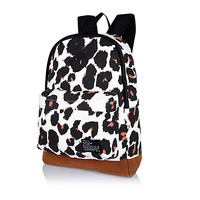 River Island Womens White graphic leopard print backpack