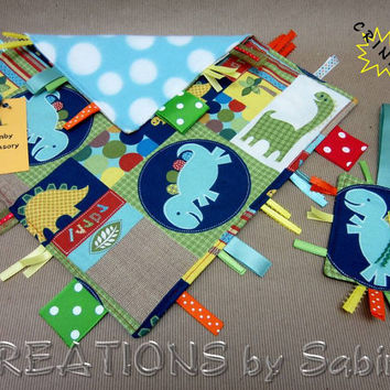 Baby Gift Set: Sensory Blanket & Crinkle Tag Toy, Dinosaur Dino Animals, Blue Turquoise Green Yellow Orange READY TO SHIP 157