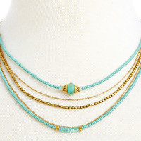 Teal Seed Shimmer Trio w/ Opal Necklace, Bib Necklaces
