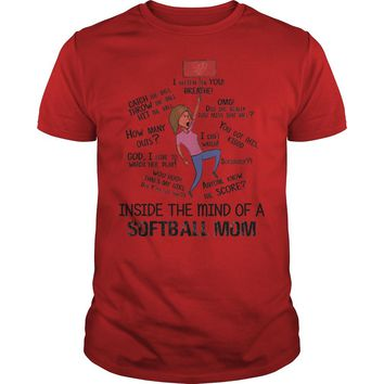 Inside in the mind of a softball mom shirt Guys Tee