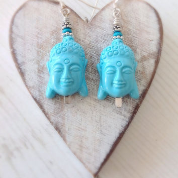 Yoga earrings, buddha earrings, sterling silver, blue buddha, buddha head, hippie jewelry