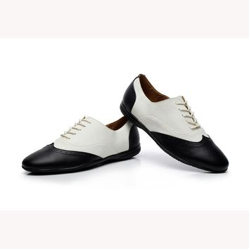 Customized by Hand Genuine Leather Salsa Shoes Men's Black&White Latin Dance Shoes Flat Heel Boy's Modern Shoes VA30 1644