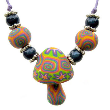 Mushroom pendant necklace, millefiori rainbows and flower power patterns, handmade from polymer clay, handmade beads, miracle beads