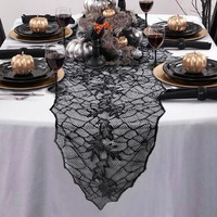 Halloween Spider Web Lace Table Cloth Runners Party Accessories 75 inches