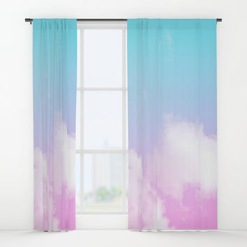 Pink Summer Clouds Window Curtains by Trevor May