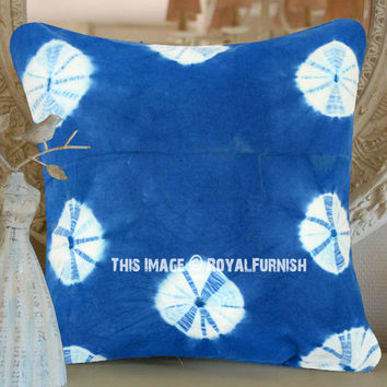 Decorative Light Blue Shibori Circles Indigo Throw Pillow Cover 16 Inch on RoyalFurnish.com