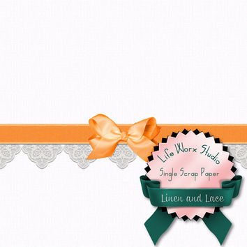Tangerine Linen And Lace - Digital Patterns - Printable Papers - Digital Scrapbooking - Commercial Use -  Instant Download