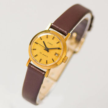 Vintage classic women watch Dawn, small minimalist lady watch, gold plated watch tiny, shockproof women watch gift, new luxury leather strap
