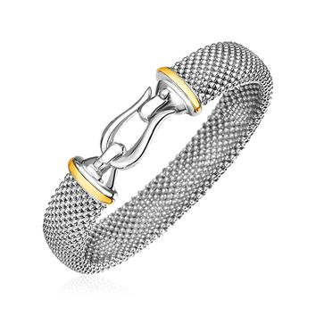 Popcorn Texture Bracelet with Hook Clasp in Sterling Silver and 18K Yellow Gold