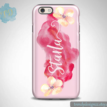 iPhone 6 case, Personalized Monogram iPhone 6s Plus case iPhone 5s case 6 plus Samsung case S6 Edge S5 S4, Pink Watercolor Floral Case(52)