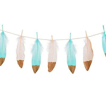 Ling's moment 10FT Feather Garland Rose Gold Glitter Dipped Soft Peach and Blue Feather Banner for Bedroom Bohemian Teepee Decorations, Boho Theme Wedding Bridal Baby Shower Decor