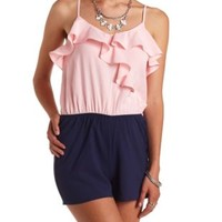 Surplice Color Block Ruffle Romper by Charlotte Russe - Blush Combo