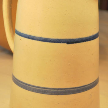 Large Antique Salt Glaze Stoneware Blue Stripe Crock Pitcher Jug
