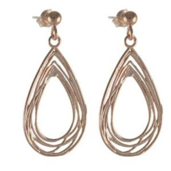 High Fashion Italian Stunning Sterling Silver with Rose Gold Overlay Large Teardrop Frame Cut Out Design Earrings!
