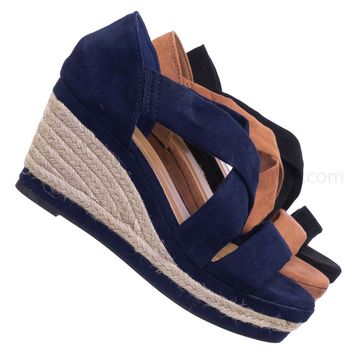 Belle05 Espadrille Platform Wedge Sandal - Women Open Toe Cross Strap Shoes