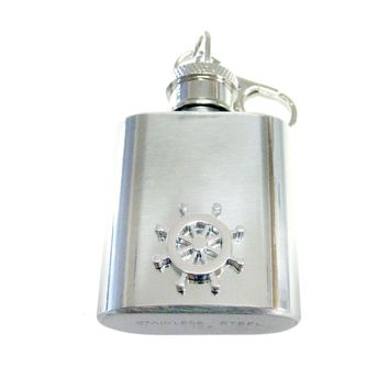 1 Oz. Stainless Steel Key Chain Flask with Nautical Helm Pendant