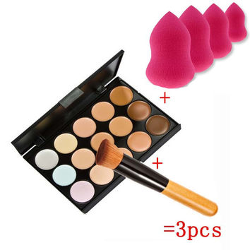 New Beauty 15 Colors Cream Makeup Set pinceis de maquiagem Concealer Palette Sponge Gourd Puff Powder Brush