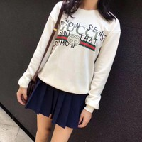 GUCCI Graffiti Print Round Neck Long sleeve Pullover Sweatshirt