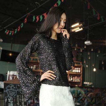 Women Spring Beaded Knit Tops Shiny Sequin Sweaters Slash Neck Flare Sleeve Gold Lurex Bling Slim Jumper Tops 4 Colors